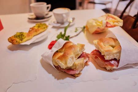 Traditional Italian focaccia. light Italian breakfast in a cafe, breakfast for two
