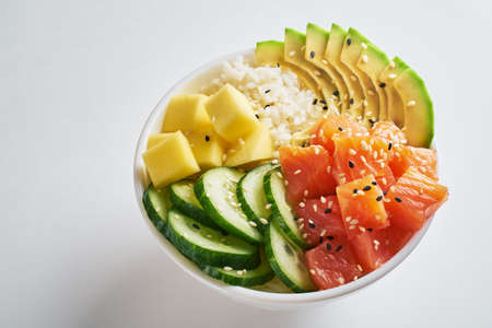 poke bowl with salmon islated on white background. side view 版權商用圖片