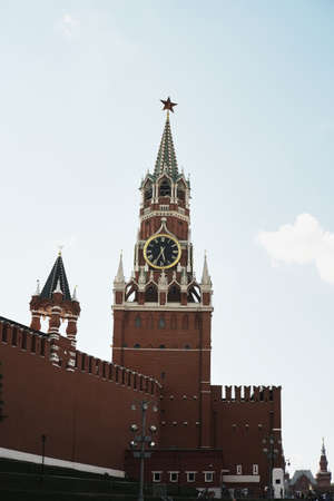 Spasskaya tower of the Kremlin in the early autumn morning on the Red Square in