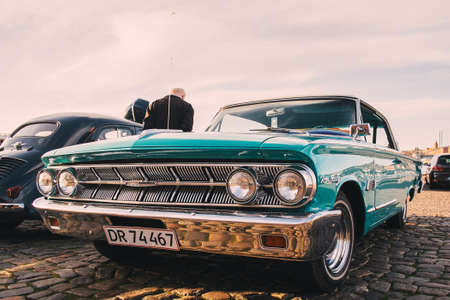 April 9, 2015: The front of the old American muscle car. vintage car details