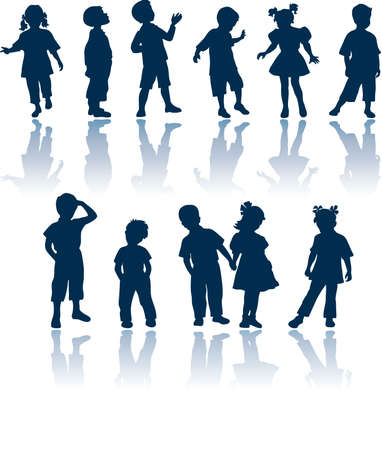 child couple: Kids vector silhouettes