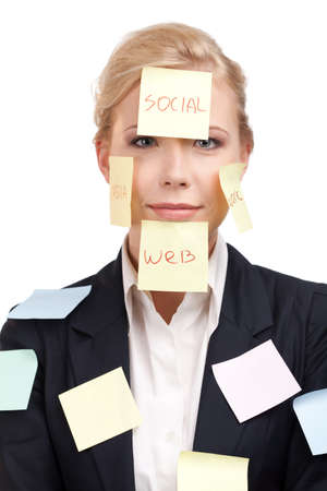 assert: Business woman with colored stickers on her face, isolated on white background