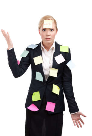 appealing attractive: Business woman with colored stickers on her face, isolated on white background