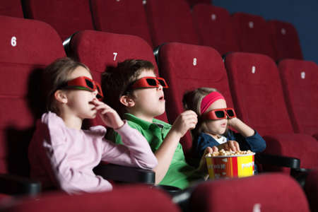 movie theater: Toddlers in the movie side view