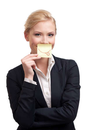 Tongue out businesswoman portrait on white background photo