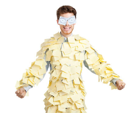 Young man with eyes painted on stickers, covered with yellow sticky notes Stock Photo - 13703268