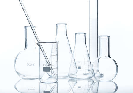 erlenmeyer: Glass laboratory equipment  isolated on white background