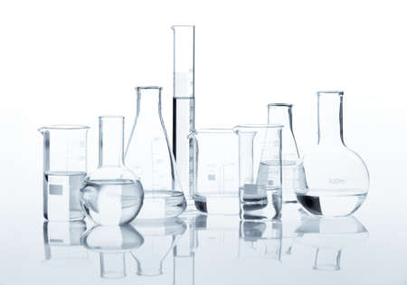 Test-tubes isolated on white  Laboratory glassware photo