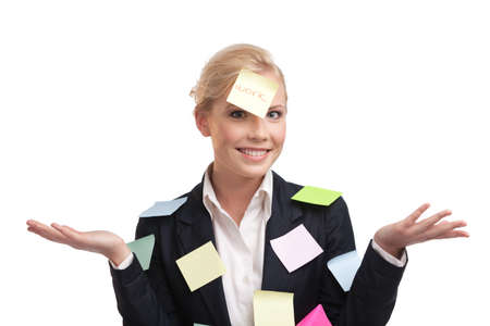 Business woman with colored stickers on her face, isolated on white background photo