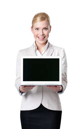 Young businesswoman offers computer product, isolated on white photo