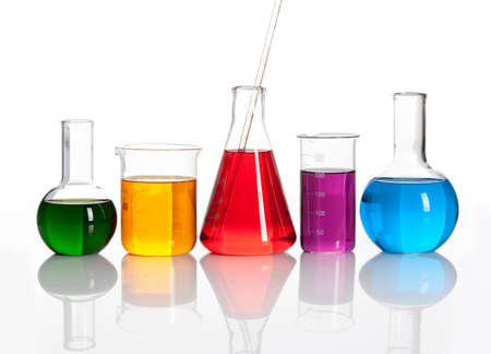 conical: Group of glass flasks with a colored reagents, isolated