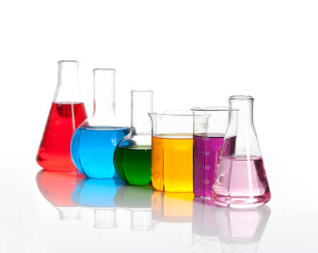 chemically: Various glass flasks with a colored reagents, isolated