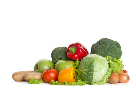 mental object: Group of fresh vegetables, isolated