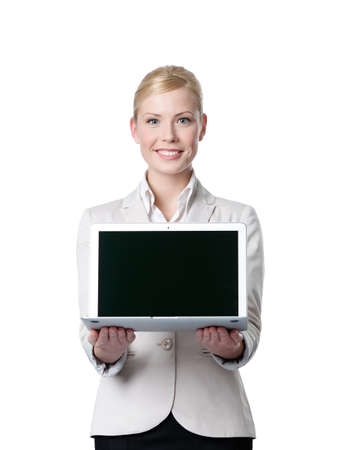 propose: Young business woman offers computer product, isolated on white background Stock Photo