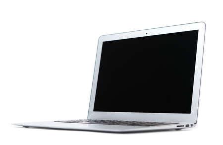 grigiastro: Sottile in alluminio portatile d'argento, isolato su bianco Archivio Fotografico