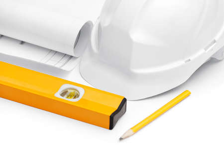 elevation meter: White hard hat is near level, druft and pencil on white Stock Photo