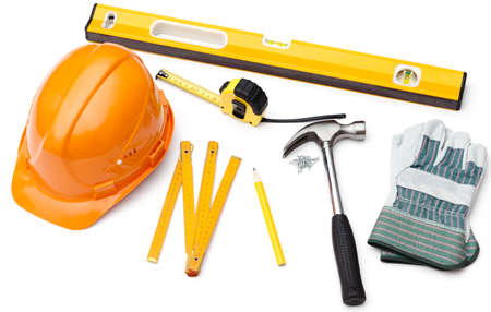 architect tools: Hard hat, pencil, line, hammer, nails, gloves, tape measure, level, isolated on white