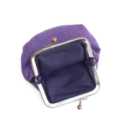 shortage: Violet purse is lack of money, isolated on white background  Absence of money means poverty, indigence  Stimulus to work hard and earn money  Stock Photo