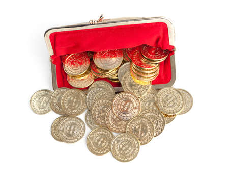 silver coins: Scattered silver and gold coins are in red purse, isolated on white background  A great number of coins symbolise weath, richness, income and profit  Close up shot