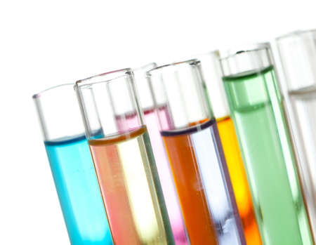 test glass: Group of test tubes with a colored liquids in a rack, isolated
