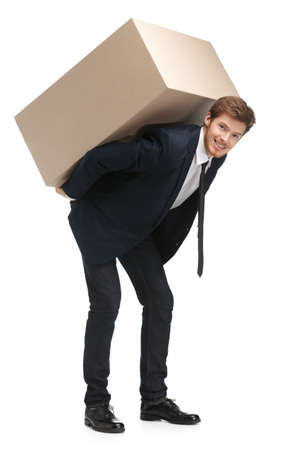 Shop assistant delivers the parcel, isolated, white background photo