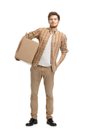keeps: Deliveryman keeps the parcel, isolated, white background Stock Photo