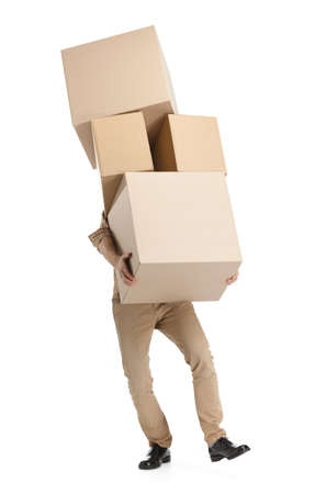 mover: Man hardly carries the boxes, isolated, white background
