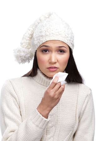 Sick young woman holding wipe in her hands, isolated Stock Photo - 14649749