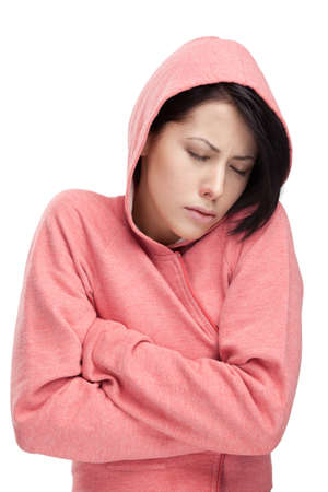 A cold young woman, isolated photo