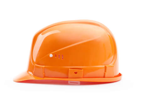 hard stuff: Orange hard hat in profile, isolated on white Stock Photo