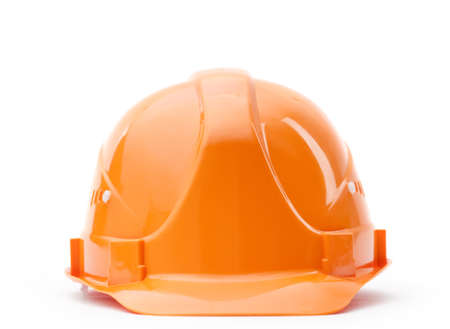 Orange fronted hard hat, isolated on white Stock Photo