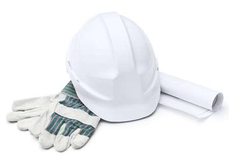 materiales de construccion: Sombrero blanco, guantes, druft, aislado en blanco Foto de archivo
