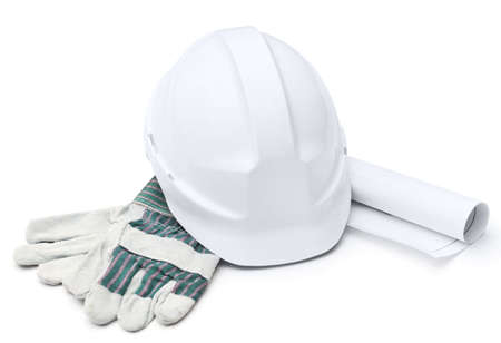 building material: White hard hat, gloves, druft, isolated on white