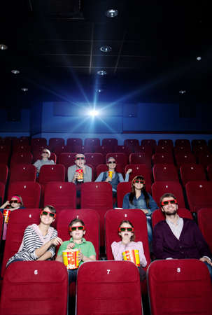 seating: Projector light at the 3D cinema Stock Photo