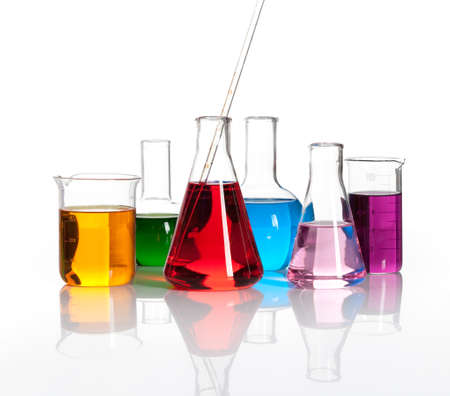 reagents: Various laboratory flasks with a colored reagents, isolated