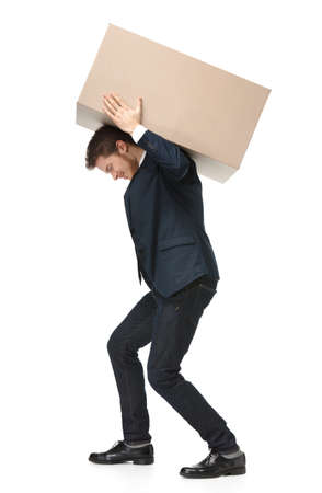 loading cargo: Shop assistant carries the parcel, isolated, white background