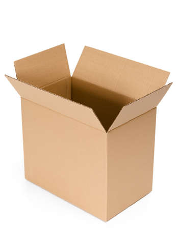 Opened cardboard container, isolated, white background photo