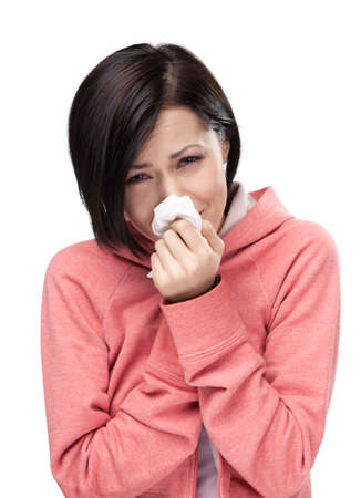 achy: Sick attractive woman holding wipe in her hands, isolated