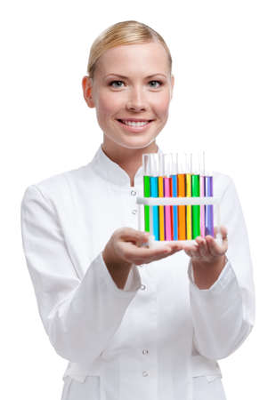 Lab assistant holds test-tubes rack, isolated on white photo