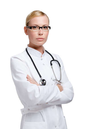 Seus lady doctor with stethoscope, isolated on white Stock Photo - 14729956