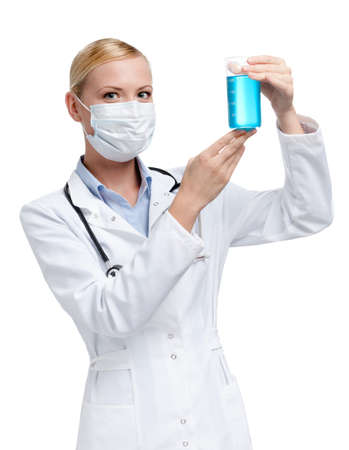 respirator: Female practitioner hands a beaker, isolated on white