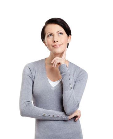 mujer pensativa: Mujer pensativa, aislado en blanco