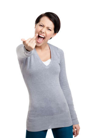 vulgar: Attractive woman shows a vulgar, obscene finger gesture, isolated on white Stock Photo