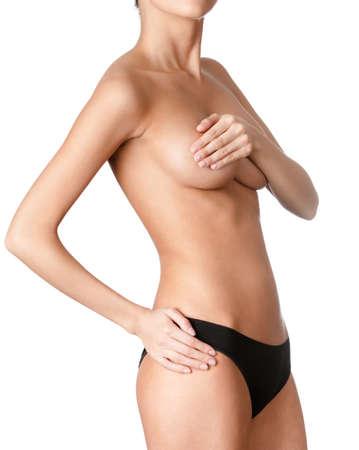femme en sous vetements: Athlétique corps, isolé, fond blanc