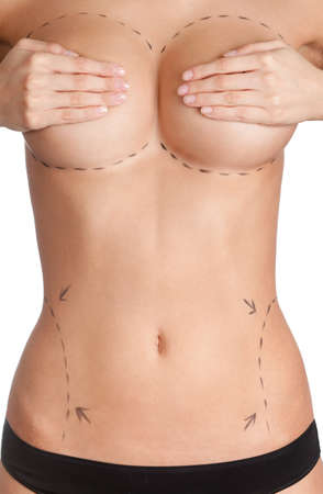 tits: Plastic surgery, isolated, white background