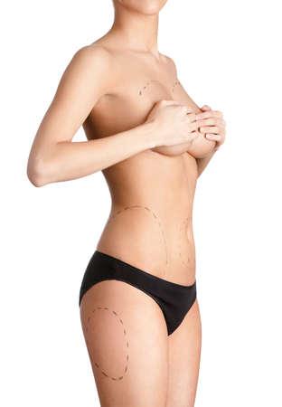 bragas: Consejo de la corrección con la ayuda de la cirugía plástica, aislado, fondo blanco