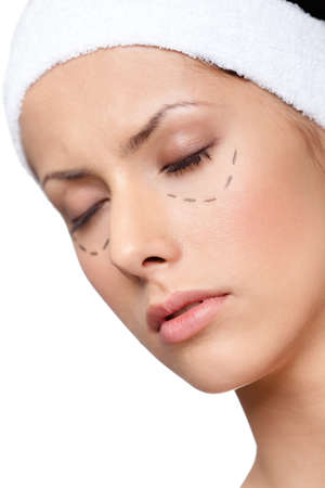 Facelift, plastic surgery, isolated, white background photo