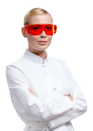 Female doctor is in red medical spectacles, isolated on white Stock Photo - 14847438