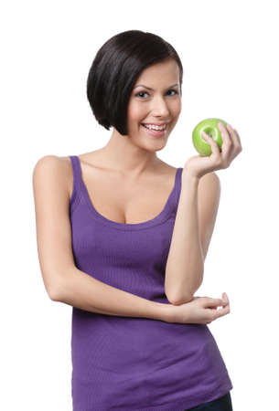 developed: Dieting lady with green apple, isolated, white background