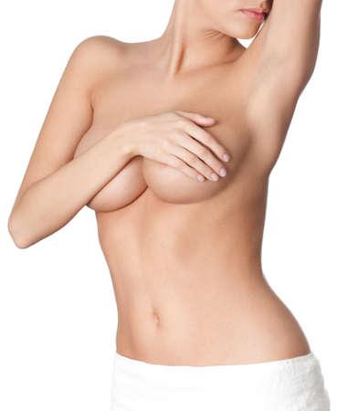 beaux seins: Parfait corps nu, isol�, fond blanc Banque d'images